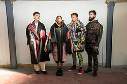 Pictured: Robert Cooper, Katy Matsetse, Max Wills Gray and Paul Kevvan. <br /> Cowboys, falconry and gang culture provided some of the inspiration for University of Edinburgh fashion students, whose work will be displayed between May 18 and 20 this year<br /> <br /> Ger Harley | EEm 19 April 2016