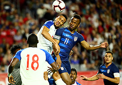 January 27, 2019 - Glendale, AZ, U.S. - GLENDALE, AZ - JANUARY 27: United States of America forward Jeremy Ebobisse (11) heads the ball during the international friendly between the United States Men's National Team and Panama on January 27th, 2019 at State Farm Stadium in Glendale, AZ (Photo by Adam Bow/Icon Sportswire) (Credit Image: © Adam Bow/Icon SMI via ZUMA Press)
