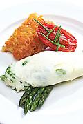 White Omlette,asparagus,tomato,hash browns