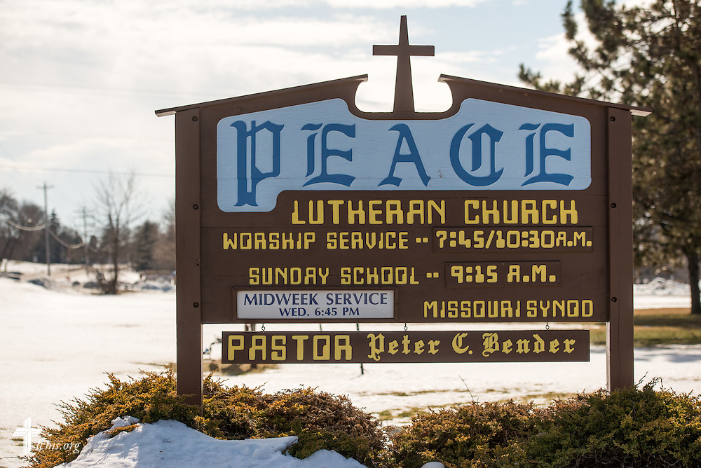 Exterior photograph of the welcome sign on Sunday, Feb. 7, 2016, at Peace Lutheran Church in Sussex, Wis., LCMS Communications/Erik M. Lunsford