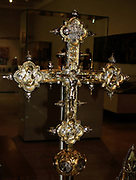 Processional Cross about 1390 probably by Ughetto Lorenzoni (active 1380's & 1390's).  The large size of this cross and its splendid decoration on both sides would have made it suitable for processions around the town and church of Locatello.  An owl, part of the towns coat of  arms, appears on the knop at the bottom.