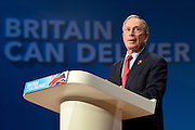 © Licensed to London News Pictures. 10/10/2012. Birmingham, UK Mayor of New York, Michael Bloomberg, delivers his keynote speech at The Conservative Party Conference at the ICC today 10th October 2012. Photo credit : Stephen Simpson/LNP