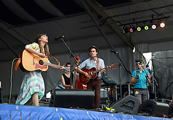 02 May 2014. New Orleans, Louisiana.<br /> Hurray for the Riff Raff at the New Orleans Jazz and Heritage Festival. <br /> Photo; Charlie Varley/varleypix.com