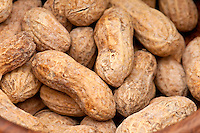 Close up view of peanuts, macro shot, use of selective focus.