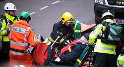 © licensed to London News Pictures.  London, UK. 22/02/12. Emergency services prepare to evacuate mock casualty. 'Exercise Forward Defensive' olympic emergency training simulation takes place at the closed Aldywch underground station, Surrey Street, Westminster. Photo © Jules Mattsson