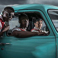 &copy;ANDREW BAKER.<br /> UK LONDON.21st Aug'14<br /> Secret Cinema Actors,Marvellous Ayobamiwale Fayose, Jordan Frederick and Adel El-Zanaty on set of the Back to The Future, the pop up company's latest production.<br /> &copy;Andrew Baker photographer.<br /> 07977074356