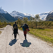 Three weeks aboard the Kong Harald. Hurtigruten, the Coastal Express. The Svartisen glacier. Hikers going on a glaciertrip.