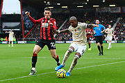Ashley Young (18) of Manchester United battles for possession with Harry Wilson (22) of AFC Bournemouth during the Premier League match between Bournemouth and Manchester United at the Vitality Stadium, Bournemouth, England on 2 November 2019.