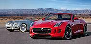 Photograph of a red 2014 Jaguar F-type and 1954 Jaguar XK 120. Desert Coachella Valley, CA