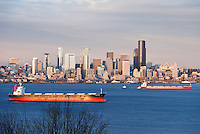 The waterfront and skyline of Downtown Seattle, Washington, USA