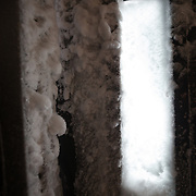 The winter storm frozen doors into Corbet's Cabin at the top of the tram.