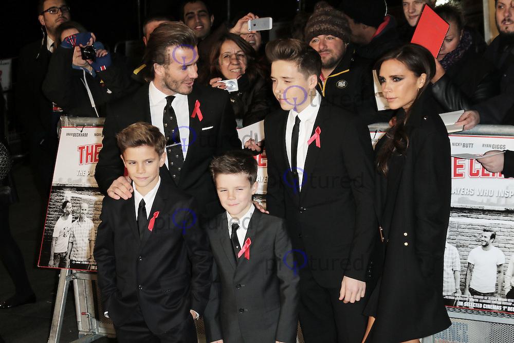 Romeo Beckham; David Beckham; Cruz Beckham; Brooklyn Beckham; Victoria Beckham, The Class of 92 - World Film Premiere, Odeon West End, Leicester Square, London UK, 01 December 2013, Photo by Richard Goldschmidt