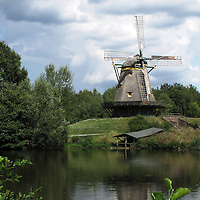 Historic Hessen Park's old windmill; Frankfurt, Germany.