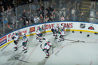 KELOWNA, CANADA - FEBRUARY 24:  The Kelowna Rockets drop the gloves with the Kamloops Blazers post game on February 24, 2018 at Prospera Place in Kelowna, British Columbia, Canada.  (Photo by Marissa Baecker/Shoot the Breeze)  *** Local Caption ***