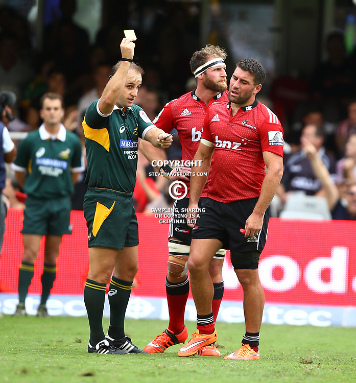DURBAN, SOUTH AFRICA - APRIL 04: Referee:Stuart Berry (South Africa) with a yellow card for Kieron Fonotia of the Crusaders during the Super Rugby match between Cell C Sharks and Crusaders at Growthpoint Kings Park on April 04, 2015 in Durban, South Africa. (Photo by Steve Haag/Gallo Images)