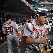 NEW YORK, NEW YORK - July 07: Catcher Wilson Ramos #40 of the Washington Nationals heads out of the dugout to catch during the Washington Nationals Vs New York Mets regular season MLB game at Citi Field on July 07, 2016 in New York City. (Photo by Tim Clayton/Corbis via Getty Images)