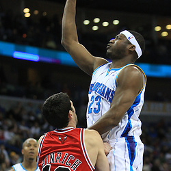 04 February 2009: New Orleans Hornets guard Devin Brown (23) shoots over Chicago Bulls guard Kirk Hinrich (12) during a 93-107 loss by the New Orleans Hornets to the Chicago Bulls at the New Orleans Arena in New Orleans, LA.