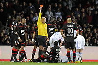 FOOTBALL - FRENCH CHAMPIONSHIP 2010/2011 - L1 - OLYMPIQUE LYONNAIS v STADE RENNAIS - 19/03/2011 - PHOTO JEAN MARIE HERVIO / DPPI - RED CARD VICTOR HUGO MONTANO (SR) / ANTONY GAUTIER (REFEREE)