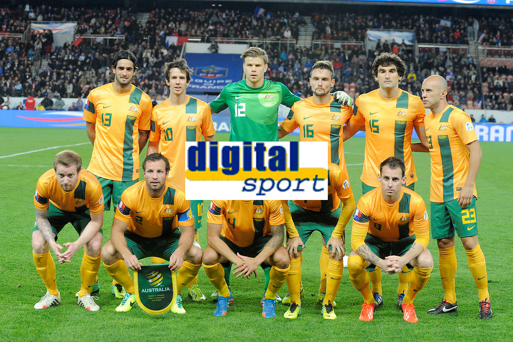 Australia starting eleven ( Back row left to right: Rhys Williams, Robbie Kruse, Mitchell Langerak, James Holland, Mile Jedinak, Mark Bresciano. Front row: David Carney, Lucas Neill, Tim Cahill, Matt McKay, Luke Wilkshire ) during the International football Friendly Game 2013/2014 between France and Australia on October 11, 2013 in Paris, France. Photo Jean Marie Hervio / Regamedia/ DPPI
