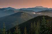 a south looking view of the Gifford Pinchot National Forest and Mount St Helens from the Mount Tahoma Trails High Hut in the Tahoma State Forest, Cascade Mountain Range, WA, USA