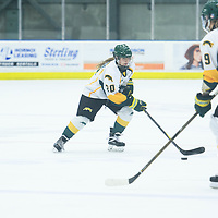 2nd year defence man Mariah McKersie (20) of the Regina Cougars in action during the Women's Hockey home game on October 14 at Co-operators arena. Credit: Arthur Ward/Arthur Images