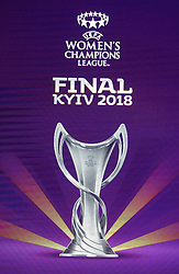 December 12, 2017 - Kiev, Ukraine - The logo of the 2018 Women's Champions League final soccer match is pictured during presentation in Kiev, Ukraine, 12 December, 2017.  The UEFA Champions League final will be played at the Olimpiyskiy stadium on 26 May 2018 in Kiev. (Credit Image: © Str/NurPhoto via ZUMA Press)