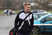 AFC Wimbledon striker Joe Pigott (39) arriving for the game during the EFL Sky Bet League 1 match between AFC Wimbledon and Blackpool at the Cherry Red Records Stadium, Kingston, England on 20 January 2018. Photo by Matthew Redman.