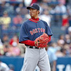 March 6, 2011; Port St. Lucie, FL, USA; Boston Red Sox relief pitcher Hideki Okajima (37) during a spring training exhibition game against the New York Mets at Digital Domain Park. The Mets defeated the Red Sox 6-5.  Mandatory Credit: Derick E. Hingle