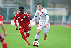 YSTRAD MYNACH, WALES - Thursday, February 19, 2015: Czech Republic's Daniel Krejdl in action against Wales during a friendly match at the Centre of Sporting Excellence. (Pic by Carl Robertson/Propaganda)