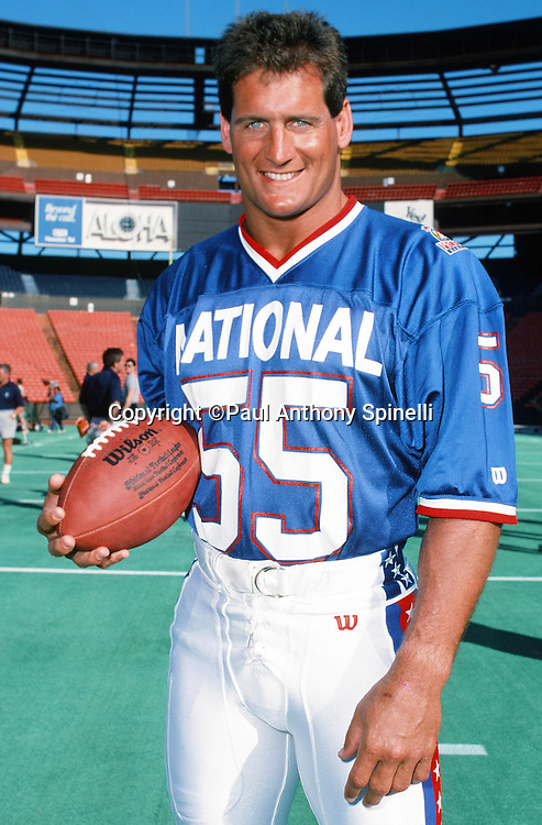The National Football Conference Minnesota Vikings linebacker Scott Studwell (55) poses for a photo during photo day the week before the 1989 NFL Pro Bowl football game against the American Football Conference on Jan. 24, 1989 in Honolulu. The NFC won the game 34-3. (©Paul Anthony Spinelli)
