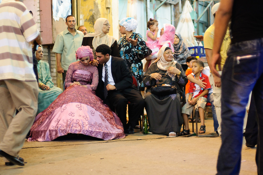 The bride and groom at a street wedding in Alexandria