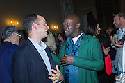MATTHEW SLOTOVER;  DAVID ADJAYE Okwui Enwezor and Vinyl Facorty hosted party at Ca'Sagredo, Campo Santa Sofia Venice Biennale, Venice. 5 May 2015