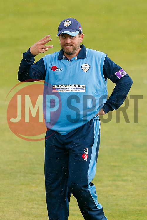 Wes Durston of Derbyshire celebrates after taking his third catch of the match - Mandatory byline: Rogan Thomson/JMP - 07966 386802 - 26/07/2015 - SPORT - CRICKET - Taunton, England - County Ground - Somerset v Derbyshire Falcons -Royal London One-Day Cup.