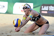 STARE JABLONKI POLAND - July 4: Doris Schwaiger of Austria in action during Day 4 of the FIVB Beach Volleyball World Championships on July 4, 2013 in Stare Jablonki Poland.  (Photo by Piotr Hawalej)