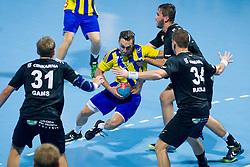 Luka Zvizej #77 of RK Celje Pivovarna Lasko during handball match between RK Celje Pivovarna Lasko vs RK Gorenje Velenje of Super Cup 2015, on August 29, 2015 in SRC Marina, Portoroz / Portorose, Slovenia. Photo by Urban Urbanc / Sportida