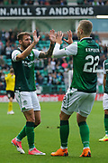 Florian Kamberi (#22) of Hibernian celebrates Hibernian's second goal (2-0) with Stevie Mallan (#14) of Hibernian during the Europa League match between Hibernian and NSÍ Runavik at Easter Road, Edinburgh, Scotland on 12 July 2018. Picture by Craig Doyle.