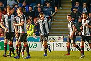 GOAL! Brad Lyons of St Mirren celebrates his winner during the Ladbrokes Scottish Premiership match between St Mirren and Dundee at the Paisley 2021 Stadium, St Mirren, Scotland on 30 March 2019.