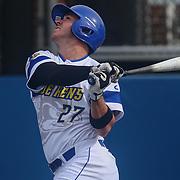 Delaware Infielder Diaz Nardo (27) bats during a regular season baseball game between Delaware and Saint Joseph's at Bob Hannah Stadium Tuesday April 19, 2016, in Newark.