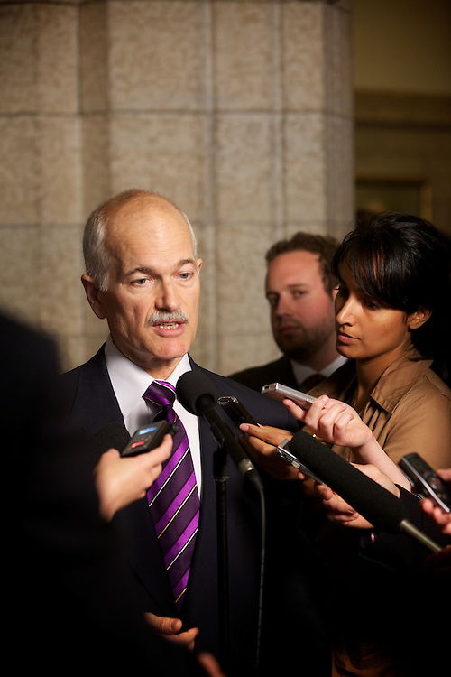 Jack Layton, leader of Canada's NDP, NDP Deputy Director of Parliamentary Communications Ira Dubinsky and NDP Senior Press Secretary Karl Belanger work together after Questions Period at the House of Commons on June 14th 2010.
