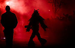 05.12.2017, Kaprun, AUT, Pinzgauer Krampustage im Bild Silhouette eines Krampus vor rotem Licht beim Krampusumzug // Silhouette of a Krampus with red light during a Krampus show. Krampus is a mythical creature that, according to legend, accompanies Saint Nicholas during the festive season. Instead of giving gifts to good children, he punishes the bad ones, Kaprun, Austria on 2017/12/05. EXPA Pictures © 2017, PhotoCredit: EXPA/ JFK