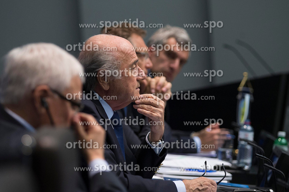 21.03.2014, Home of FIFA, Zuerich, SUI, FIFA, Pressekonferenz des Exekutivkomitee, im Bild Theo Zwanziger (L), FIFA Praesident Joseph Sepp Blatter, Generalsekretaer Jerome Valcke, Walter De Gregorio // during a press conference of the FIFA Executive Committee at the Home of FIFA in Zuerich, Switzerland on 2014/03/21. EXPA Pictures © 2014, PhotoCredit: EXPA/ Freshfocus/ Andreas Meier<br /> <br /> *****ATTENTION - for AUT, SLO, CRO, SRB, BIH, MAZ only*****