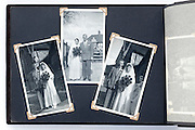photo album page with vintage wedding celebration images England
