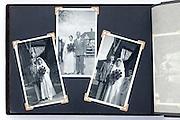 photo album page with vintage wedding celebration images England