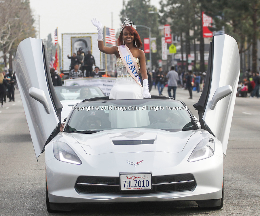 The Queen of Kingdom Day waves as the Martin Luther King Jr. parade makes it's way down Martin Luther King Blvd. in Los Angeles on Monday Jan. 18, 2016. The 31st annual Kingdom Day Parade honoring Martin Luther King Jr. was themed &quot;Our Work Is Not Yet Done&quot;(Photo by Ringo Chiu/PHOTOFORMULA.com)<br /> <br /> Usage Notes: This content is intended for editorial use only. For other uses, additional clearances may be required.