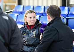 Liverpool Women manager Vicky Jepson is interviewed prior to kick-off - Mandatory by-line: Paul Knight/JMP - 17/11/2018 - FOOTBALL - Stoke Gifford Stadium - Bristol, England - Bristol City Women v Liverpool Women - FA Women's Super League 1
