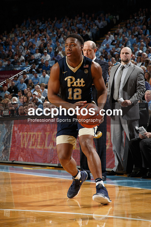 CHAPEL HILL, NC - JANUARY 31: Chris Jones #12 of the Pittsburgh Panthers dribbles the ball against the North Carolina Tar Heels on January 31, 2017 at the Dean Smith Center in Chapel Hill, North Carolina. North Carolina won 80-78. (Photo by Peyton Williams/UNC/Getty Images) *** Local Caption *** Chris Jones