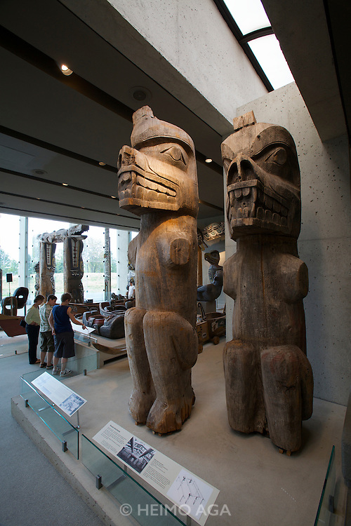 MOA - Museum Of Anthropology (at The University of British Columbia). The Great Hall, with totems and carvings by North West Coast First Nations Artists.