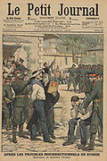 Disturbances in Russia, 1906: Execution by firing squad of muntinous sailors from Sveaborg (Suomenlina). From 'Le Petit Journal', Paris, 26 August 1906.