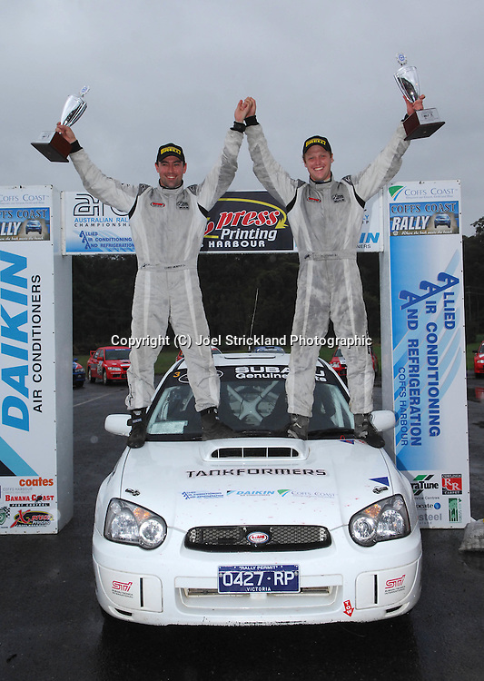 Eli Evans & Chris Murphy on the podium after winning the Coff's Coast Rally.Motorsport-Rally/2008 Coffs Coast Rally.Heat 2.Coffs Harbour, NSW.16th of November 2008.(C) Joel Strickland Photographics
