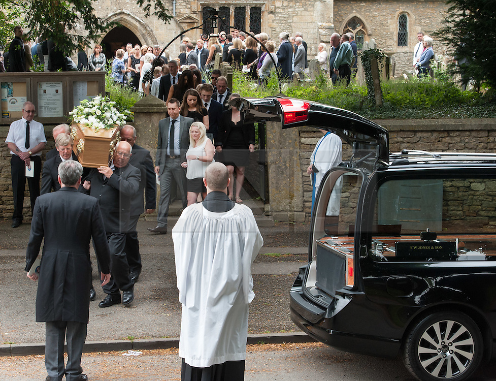 © Licensed to London News Pictures. 16/07/2015. Biddestone, Wiltshire, UK.  The funeral of EILEEN SWANNACK, victim of the Tunisia Islamist terrorist beach attack, at St Nicholas Church in Biddestone.  The church became so full that some of the congregation stood outside in the church grounds.  Photo credit : Simon Chapman/LNP